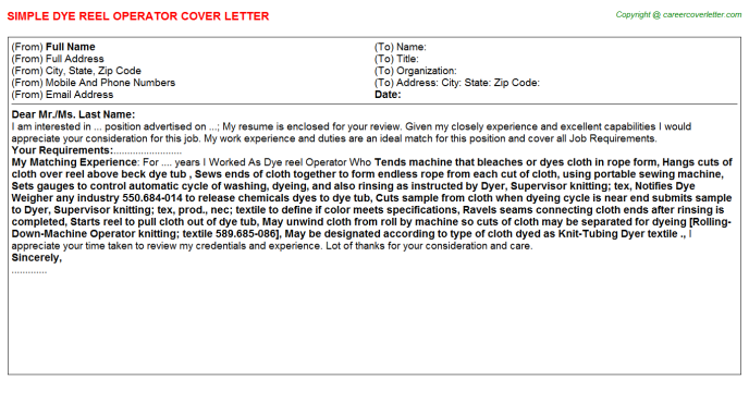 Dye Reel Operator Job Cover Letter Template