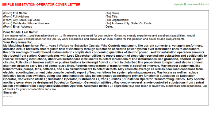 Substation Operator Job Cover Letter Template