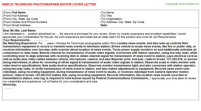 Technician Photographer Editor Cover Letter Template