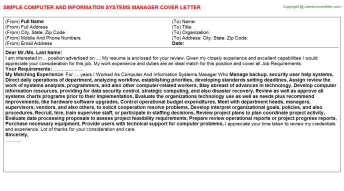 Computer And Information Systems Manager Job Cover Letter | Job ...