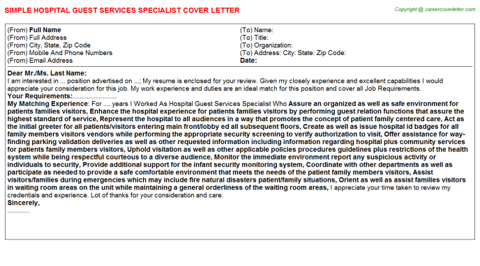 Hospital Guest Services Specialist Job Cover Letter