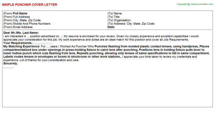 Puncher Job Cover Letter Template