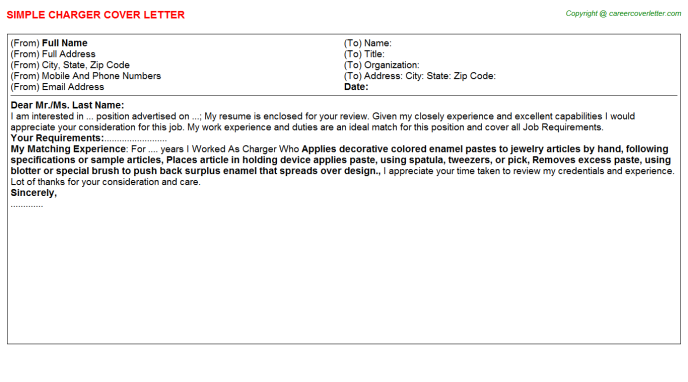 Charger Cover Letter Template