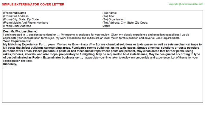 Exterminator Job Cover Letter Template