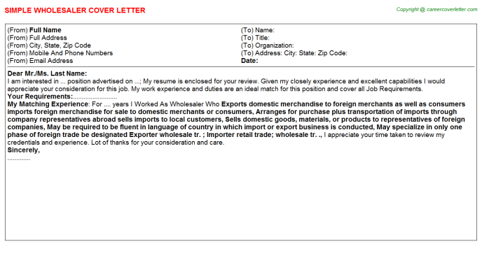 Wholesaler Cover Letter Template