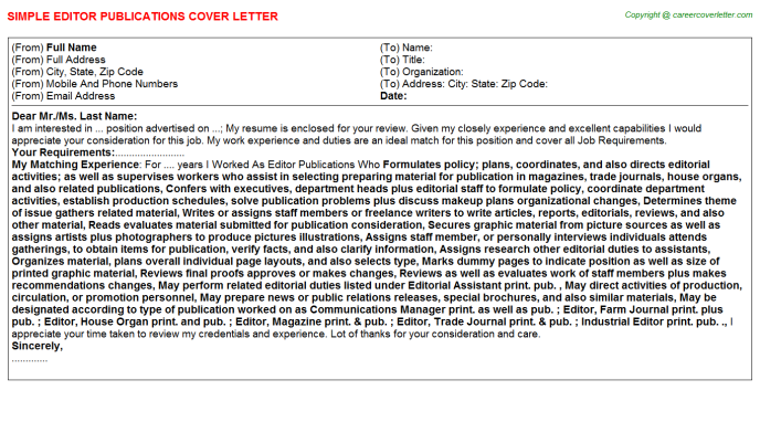 Editor Newsletter Cover Letters Samples | Cover Letter Samples