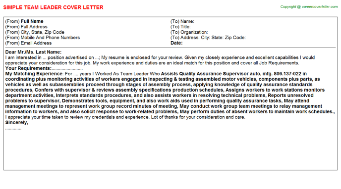 team leader cover letter template