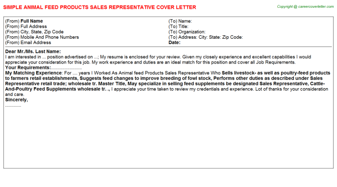 Animal feed Products Sales Representative Cover Letter Template