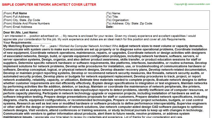 computer network architect cover letter template
