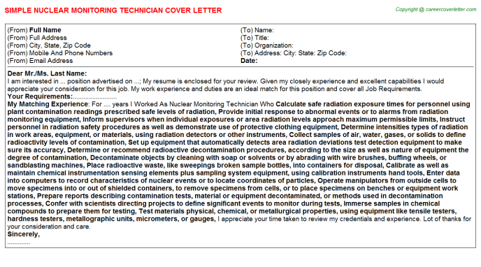 Nuclear Monitoring Technician Job Cover Letter