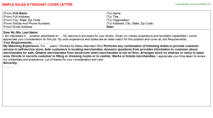 Sales Attendant Cover Letter Template