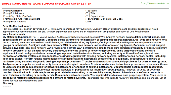 Computer Network Support Specialist Job Cover Letter