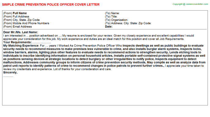 Financial Crime Job Cover Letters