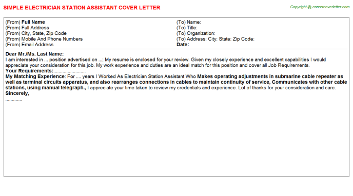 Electrician Station Assistant Job Cover Letter