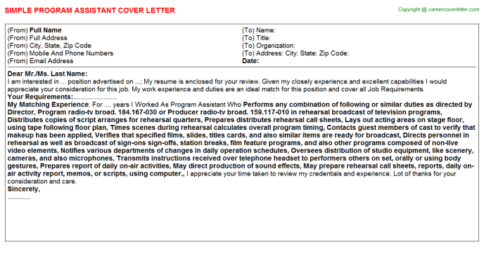Program Assistant Job Cover Letter