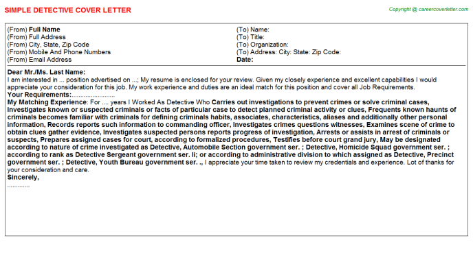 Detective Cover Letter Template