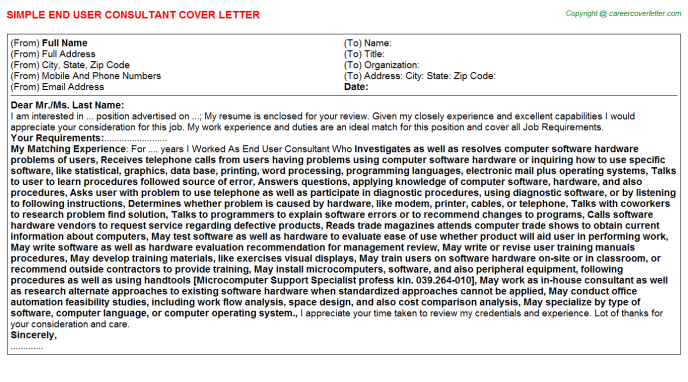 End User Consultant Job Cover Letter