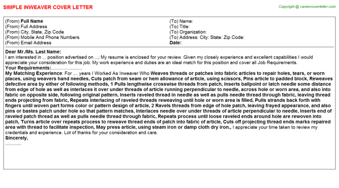 Inweaver Cover Letter Template