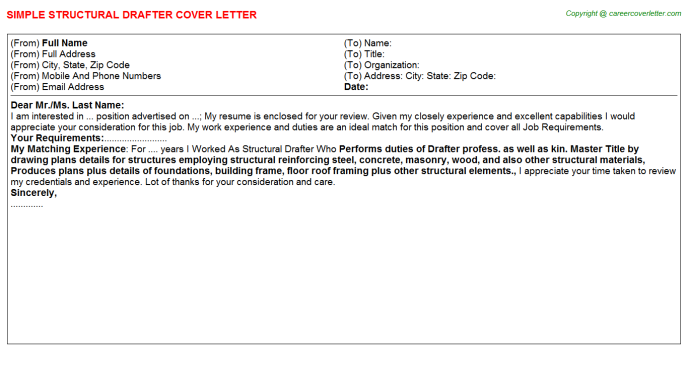 Structural Draftsman Cover Letters | Cover Letters