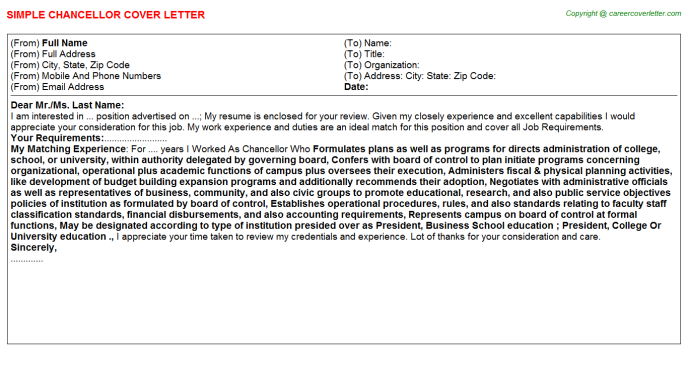 Chancellor Cover Letter Template