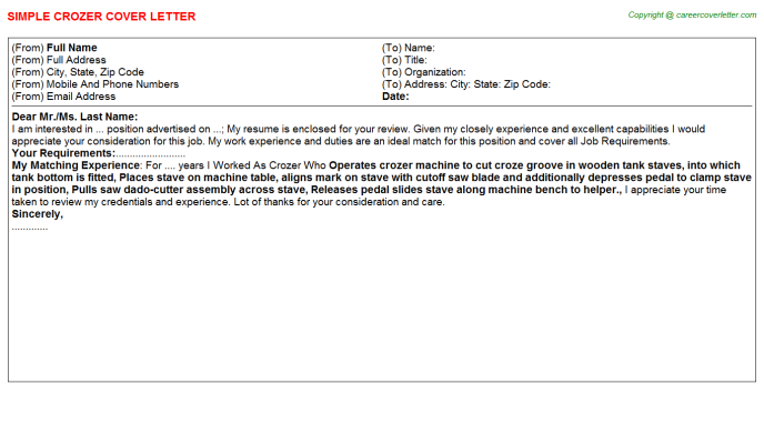 Crozer Cover Letter Template