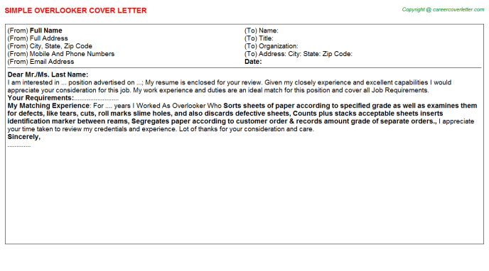 Overlooker Cover Letter Template