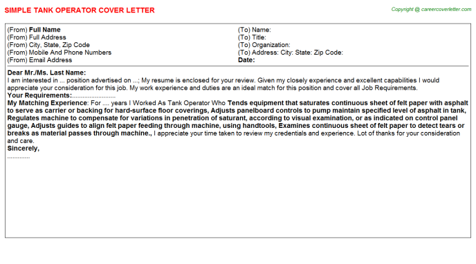 Tank Operator Cover Letter Template