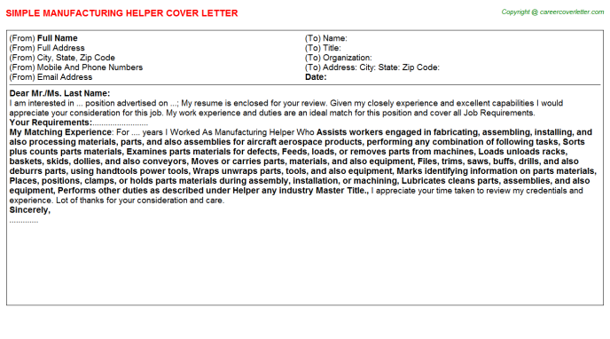 Manufacturing Helper Cover Letter Template
