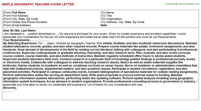 Geography Teacher Cover Letter Template