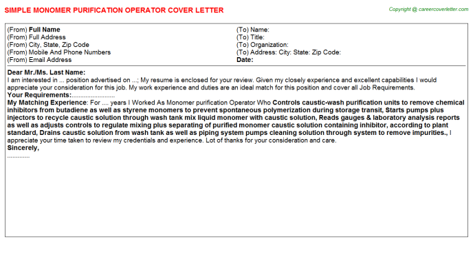Monomer purification Operator Cover Letter Template