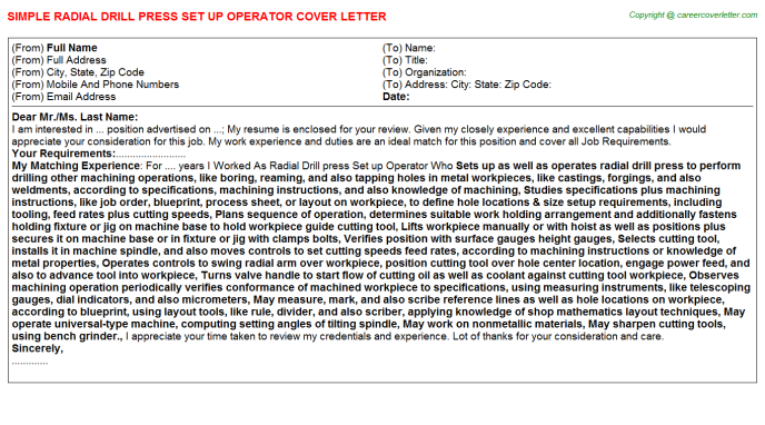 Radial Drill press Set up Operator Cover Letter Template