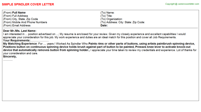 Spindler Cover Letter Template