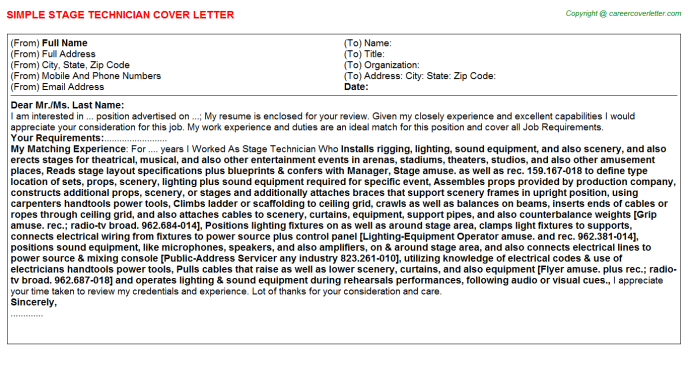 Stage Technician Job Cover Letter