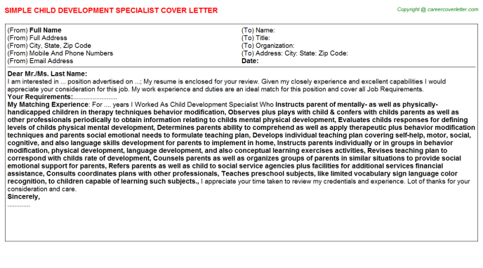 Child Development Specialist Job Cover Letter