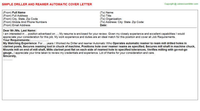 Driller And Reamer Automatic Cover Letter Template