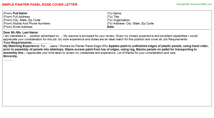 Painter Panel Edge Cover Letter Template