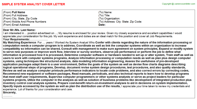 System Analyst Cover Letter Template