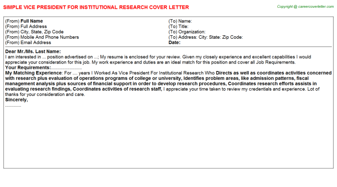 vice president for institutional research cover letter template