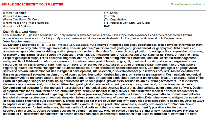Geoscientist Cover Letter Template