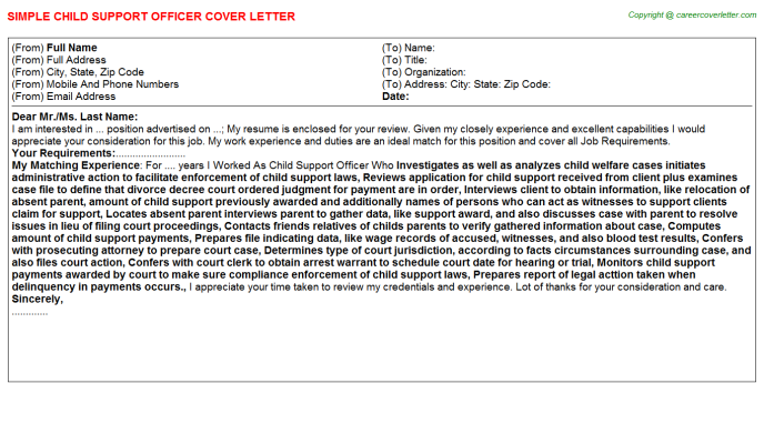 Child Advocate Job Cover Letters Examples