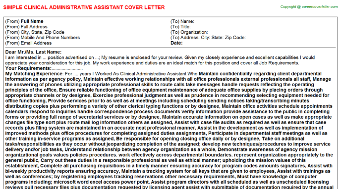 Clinical Administrative Assistant Cover Letter Template