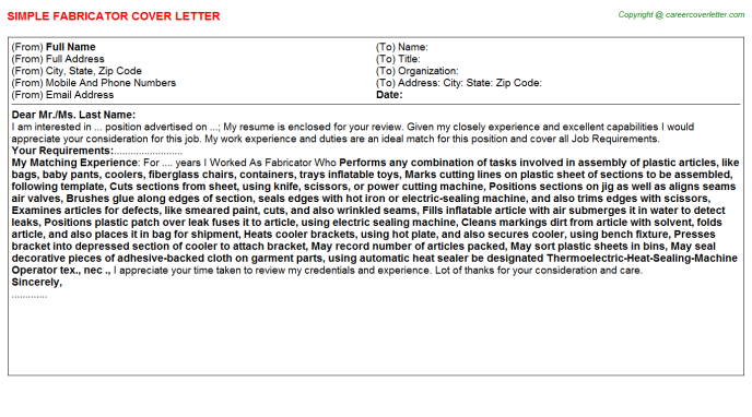 Fabricator Cover Letter Template