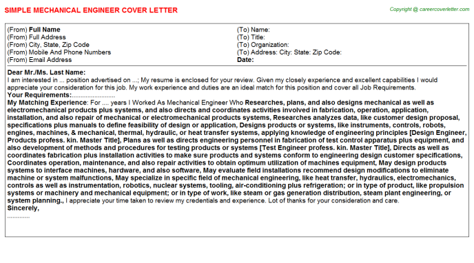 Mechanical Engineer Cover Letter Template