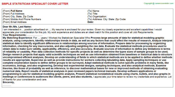 Statistician Specialist Job Cover Letter Example