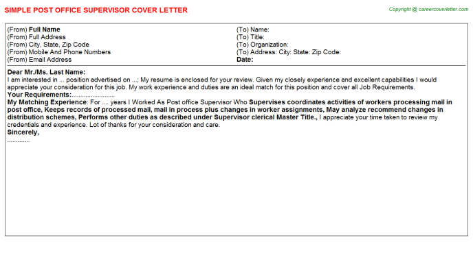 postal service cover letter for post office