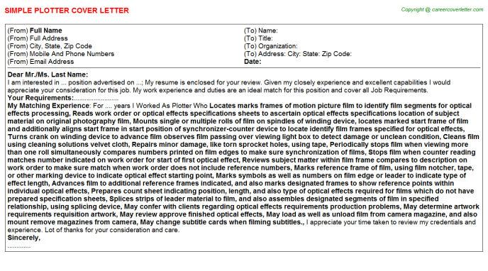 Plotter Cover Letter Template