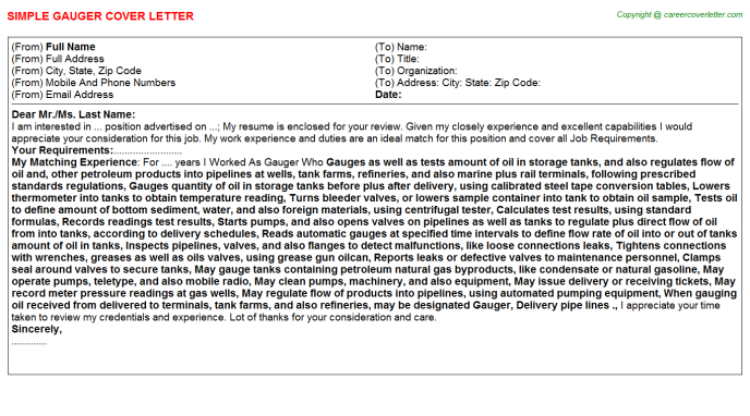 Gauger Job Cover Letter Template