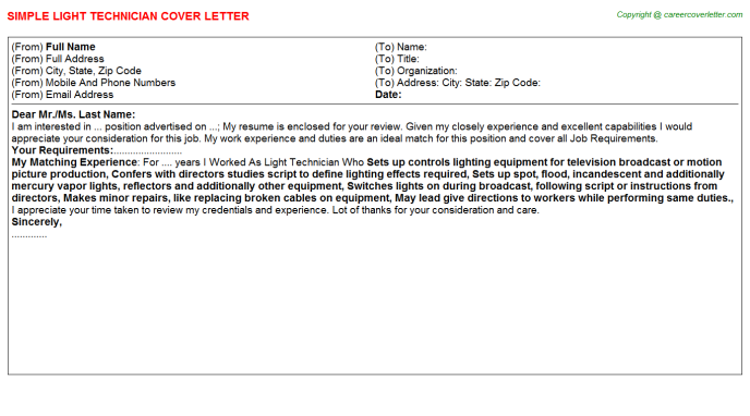 Light Technician Job Cover Letter
