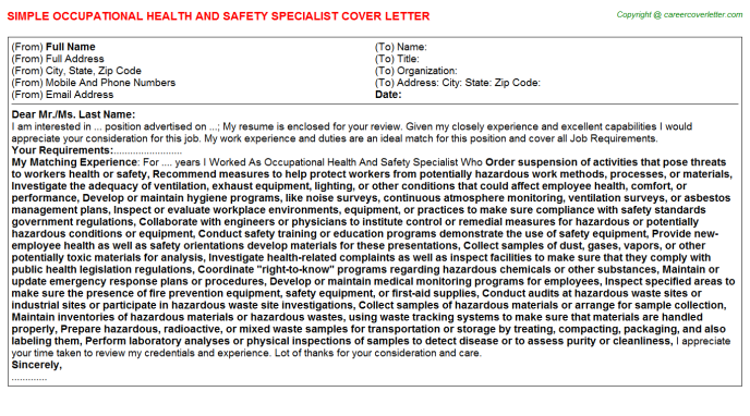Occupational Health And Safety Specialist Job Cover Letter | Cover ...