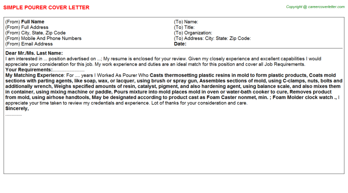 Pourer Cover Letter Template